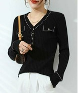Lavidence Women's Contrast-Trim Ribbed Flap-Pocket V-Neck Sweater (Black... - $29.70