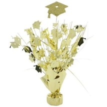 "2 metallic gold hats Graduation Balloon Weights  15"" tall centerpiece de... - $9.85"