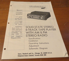 Vintage Sears Dashmate Car Stereo 8 Track Player Owners Manual Model 564 504921 - $9.74