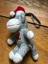 Small University of Wisconsin Gray & White Stuffed Sock Monkey w Santa Hat Chris image 6