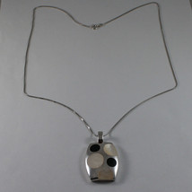 .925 SILVER RHODIUM NECKLACE WITH RECTANGULAR PENDANT, MOTHER OF PEARL AND ONYX image 2