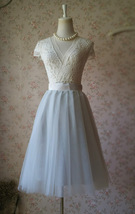 Lady GRAY Tulle Skirt A Line Full Pleated Gray Tea Skirts Custom Size NWT image 3