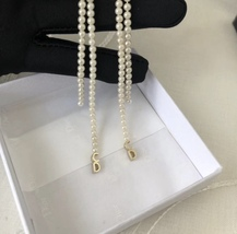 Auth Christian Dior 2017 CD LOGO MULTI PEARL DANGLE DROP LONG EARRINGS GOLD image 9