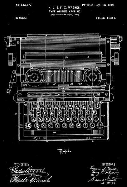 Primary image for 1899 - Type Writer - H. & F. Wagner - Patent Art Poster