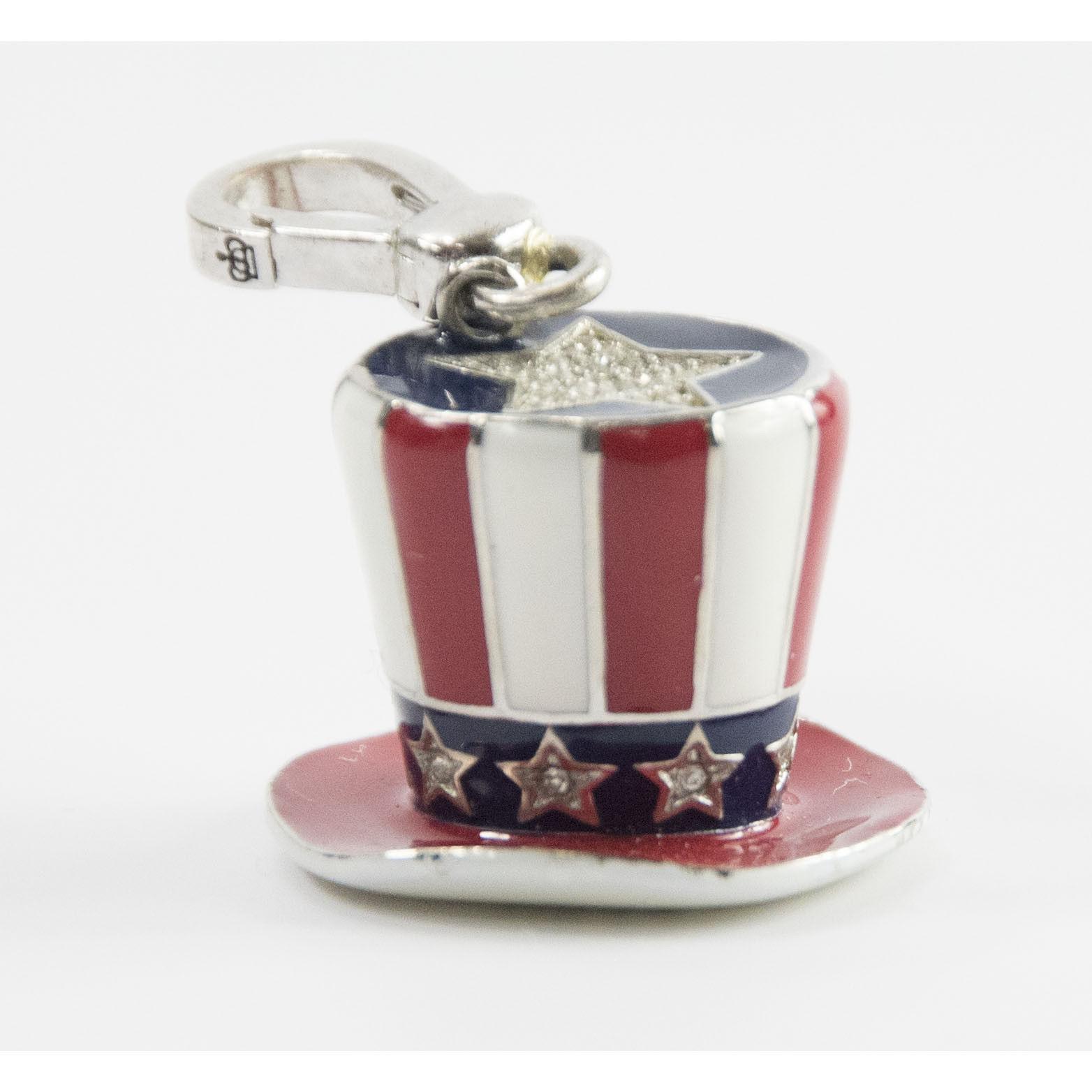 Juicy Couture Crystal Enamel USA Patriotic Hat FULL SIZE Bracelet Charm RARE