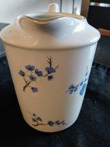 White Creamer Pitcher Blue/White Flowers   Decors de France made China Notre Dam image 2