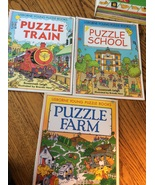Set of 3 Usborne Young Puzzle Books Susannah Leigh School Train Farm Sto... - $9.97