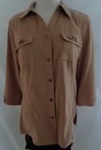 JM Collection Top Womens Petite Medium Shirt Tan Faux Suede Snap Button ... - $11.98