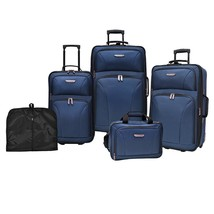 5-Piece Navy Blue Wheeled Luggage Set Carry On Tote Garment Bag Travel G... - $247.00
