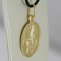 SOLID 18K YELLOW GOLD LADY OF LOURDES 17 MM ROUND MEDAL VIRGIN MARY MADE ITALY image 3
