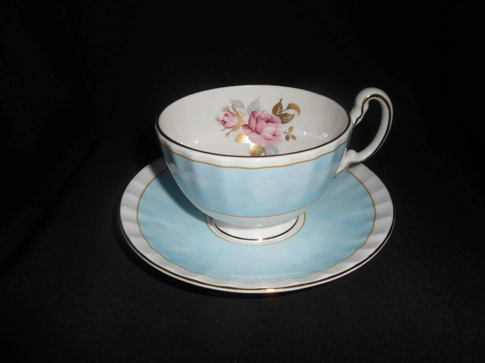 Aynsley Tea Trio Pale Blue Pink Cabbage Rose 3 Piece Set Vintage China image 9