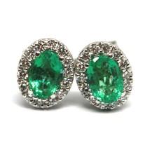 White Gold Earrings 750 18K, Flower, Emeralds 0.81 Ovals, Diamonds, Italy Made image 1