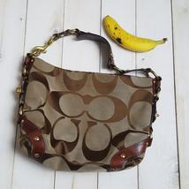 COACH Shoulder Bag Genuine C Pattern Brown Beige Purse Leather - $28.49
