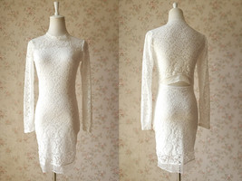 Ivory White Long Sleeve Round Neck Full Lace Short Dress Alternative Wedding NWT image 2