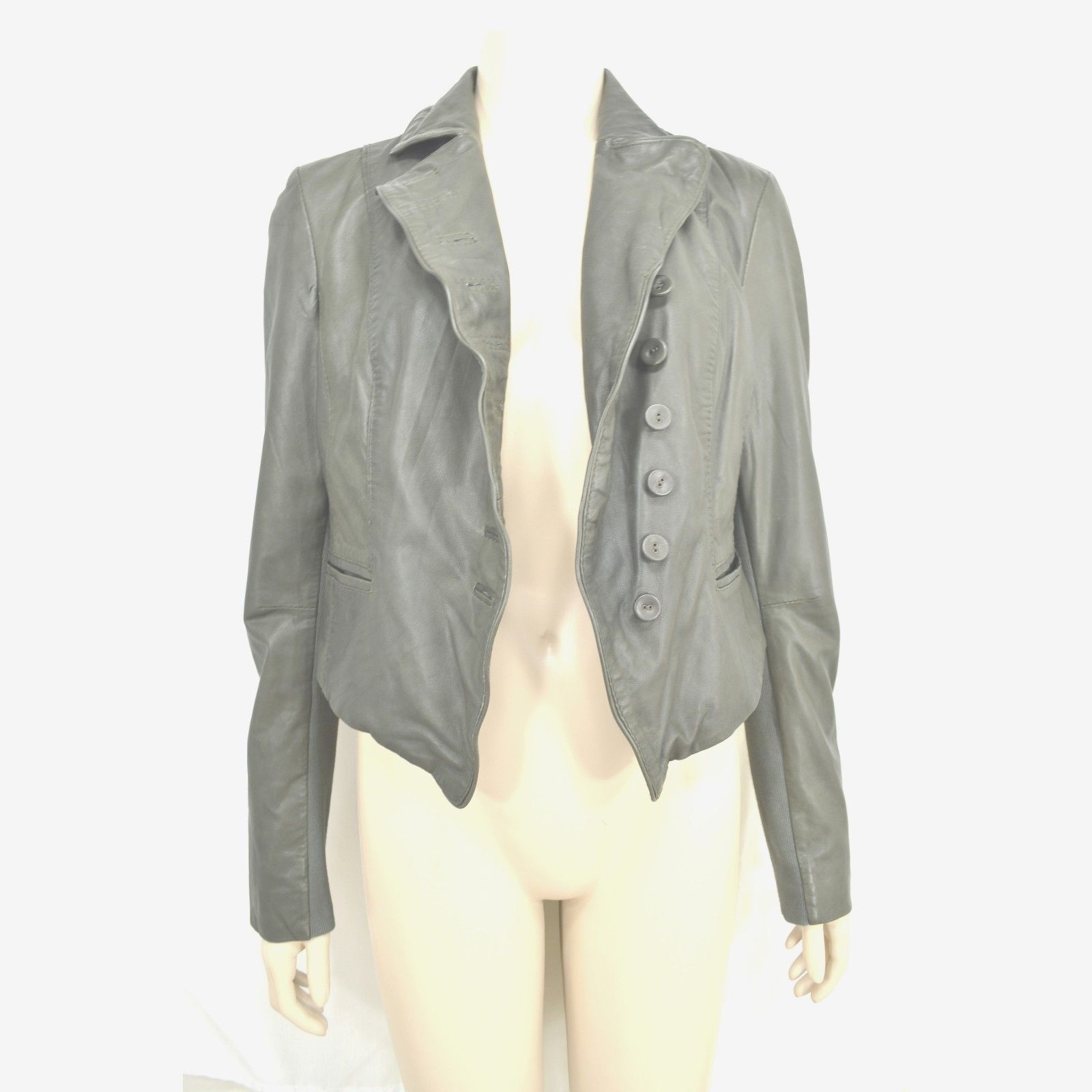 MUUBAA lambskin soft leather jacket SZ 8 Moss Army Gray asymmetric buttoned image 11