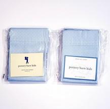 Pottery Barn Kids Woven Dots Sateen Standard Pillowcase Pair (2) Light Blue - $29.37