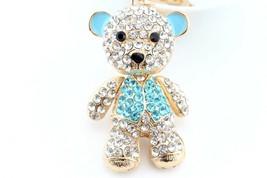 Big Blue Teddy Bear Giant Fashion Keychain Rhinestone Animal Cute #MCK11 - $20.17
