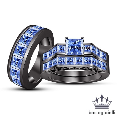 Primary image for Blue Sapphire Princess Cut His & Her Trio Ring Set 14k Black Gold Fn. 925 Silver
