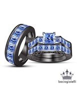 Blue Sapphire Princess Cut His & Her Trio Ring Set 14k Black Gold Fn. 925 Silver - $173.99