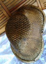 Vintage Chinese Willow Market Basket w/ Wooden Handle image 9