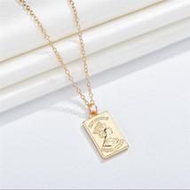 GEREIT 2019 Retro Women Jewelry Gold Color Square Cameo Portrait Pendant... - $9.53