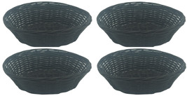 "Clipper Oval Small Bread Basket 7"" Hand Woven Polypropylene Plastic Set of 4 - $9.89"