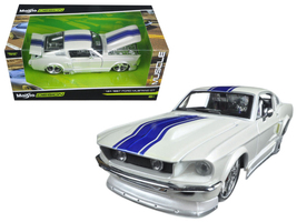 """1967 Ford Mustang GT White with Blue Stripes """"Classic Muscle"""" 1/24 Dieca... - $44.50"""