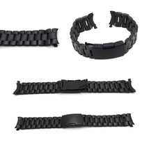 New Watch Strap Bracelet BLACK PVD STAINLESS STEEL Band Curved Lug 16mm ... - $23.69