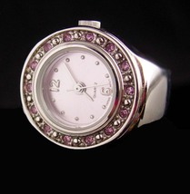 Vintage Ring Watch - pink rhinestones - silver metal stretch band - size 5 - 7 - - $65.00