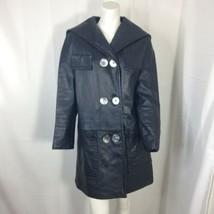 Womens Black button Front Vintage 70's Leather Coat size 8 - $59.40
