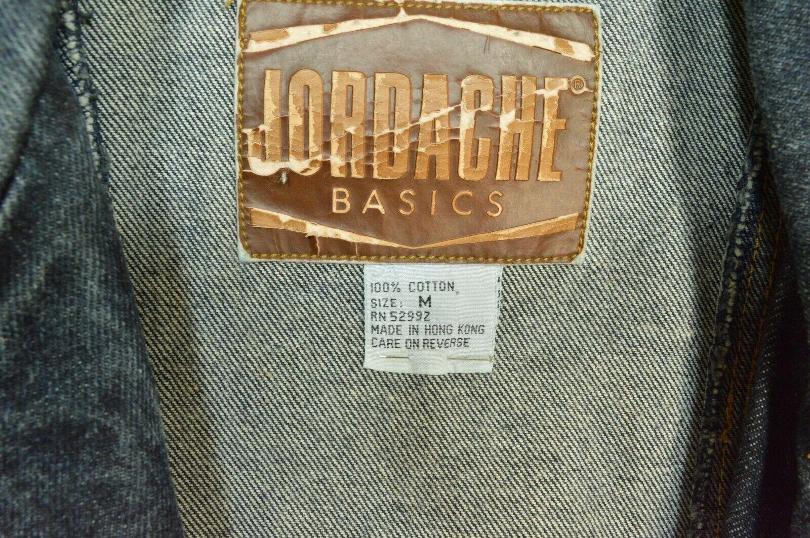 Jordache jeans jacket SZ M denim moto style vintage zippers pockets belt dark image 6