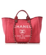 AUTHENTIC CHANEL DARK PINK RED CANVAS LARGE DEAUVILLE 2 WAY TOTE BAG REC... - $2,599.99