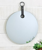 "14.2""  Round Borderless Mirror w Faux Leather Strap & Round Metal Hanger"