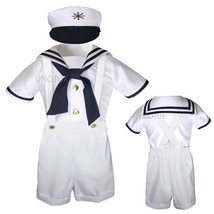 Infant Toddler Boy White Satin Sailor Wedding Party Outfit Suit Tuxedo S... - $26.95+