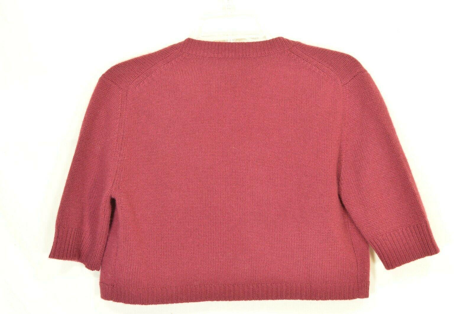 Neiman Marcus sweater M NWT red 100% cashmere shrug bolero cropped $195 new image 8