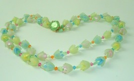 Vtg Necklace West Germany Pastel Flowers Multi Strand Plastic Beaded Sta... - $29.69