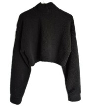 Missguided Black Fuzzy Cozy Fleece Long Sleeve Cropped Pullover Sweatshirt US 2 image 2
