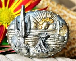 Vintage Comstock Prospector Miner Panner Brooch Pin Ceramic Gemstones - $27.95