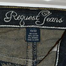 Request Women's Dark Blue Distressed Rhinestone Embellished Jeans Size 13/32 image 5