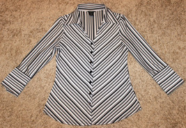 ANXIETY BLACK WHITE GRAY STRIPE FITTED BLOUSE TOP BUTTON SHIRT CAREER  M S 6 image 2