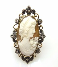 10k Gold Huge Oval Genuine Natural Cameo Ring with Diamonds (#3735) - $498.75