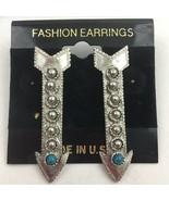 Vintage Arrow Pierced Earrings Dangle Faux Turquoise Cabochon Pisces Sil... - $9.84