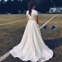 Lady Full Pleated Maxi Taffeta Skirt White Taffeta Wedding Party Skirt Plus Size image 2