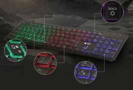 Zio Chocolate Korean English Keyboard USB Wired Membrane PC LED Backlight Keyboa image 3