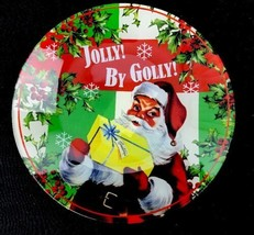 Department 56 Enesco Jolly Santa Claus Christmas Holiday Cookie Plate Glass  - $30.73
