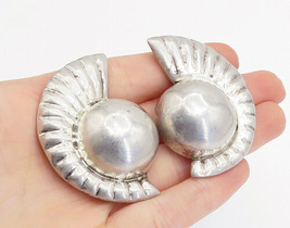 925 Sterling Silver - Vintage Fluted Detail Dome Non Pierce Earrings - E... - $92.66