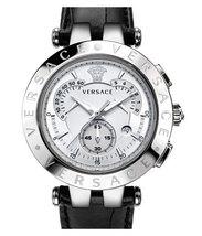 Versace 23C99D002S009 V race Chronograph Black Leather Men's Watch - $2,578.91