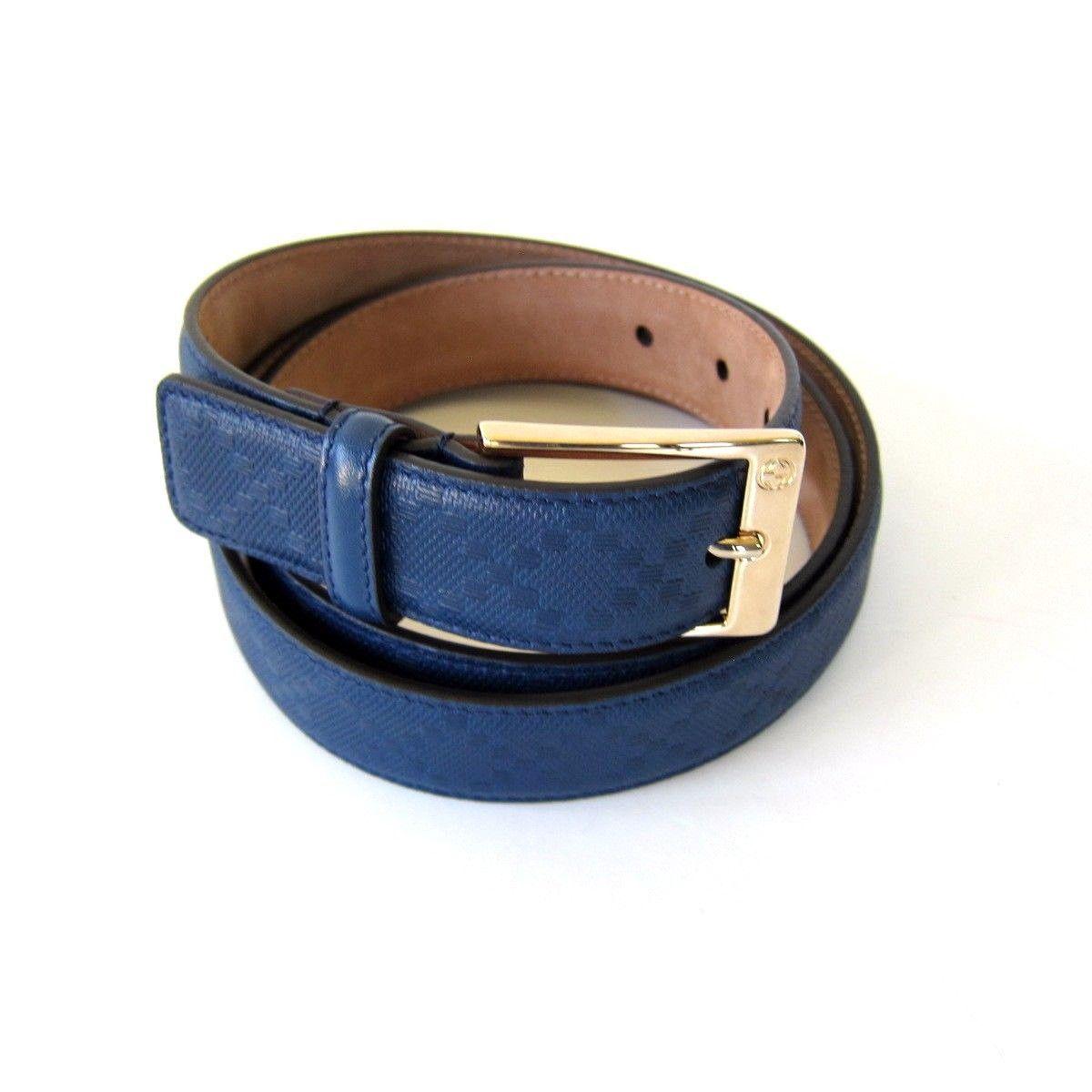 7e71de759c9 J-2169999 New Gucci Cove Blue Gold Buckle Leather Belt Size 42 Fits Waist 40