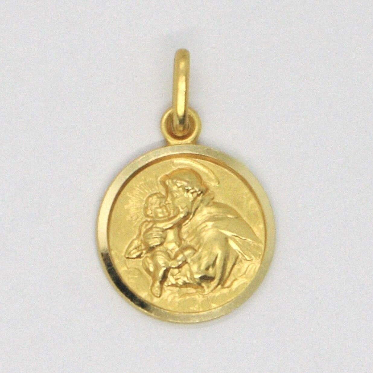 18K YELLOW GOLD ST SAINT ANTHONY PADUA SANT ANTONIO MEDAL MADE IN ITALY, 13 MM