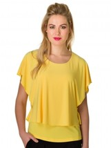 """Tanisha"" Softly Layered Draped Top in Maize by Colletta - $33.95"